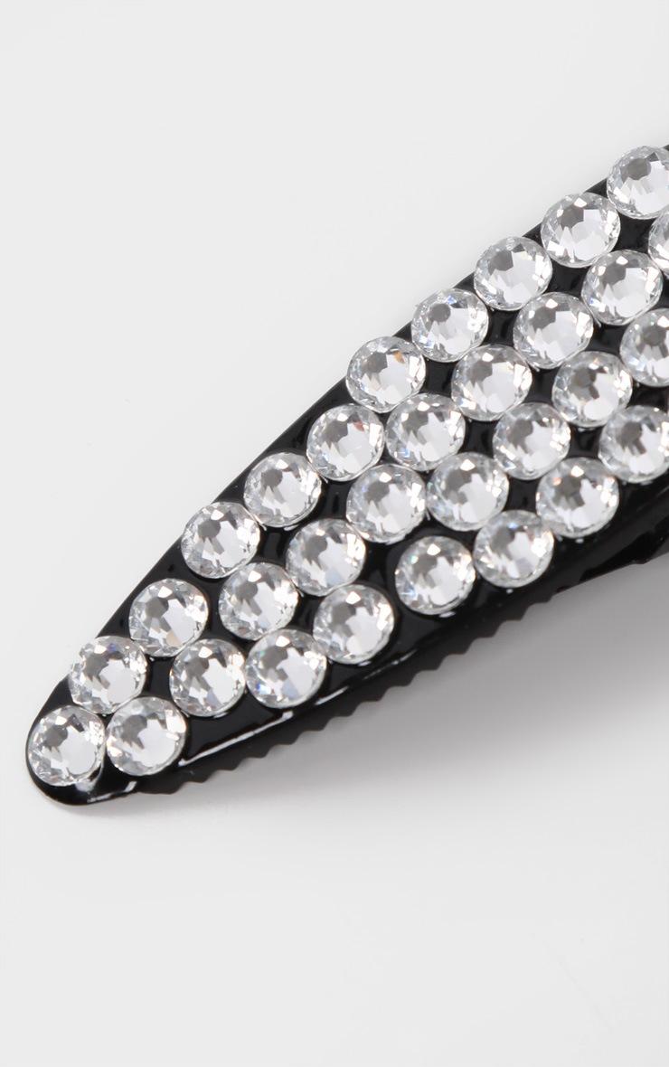 Black Diamante Medium Hair Clip 3