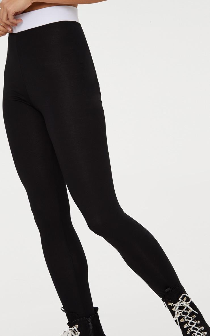 Legging noir à bande blanche contrastée au niveau de la taille 5