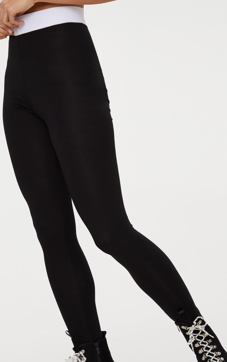 Black Contrast Waist Band Leggings  5