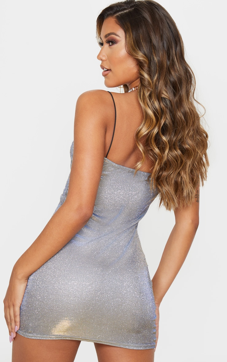Gold Iridescent Glitter Strappy Bodycon Dress 2