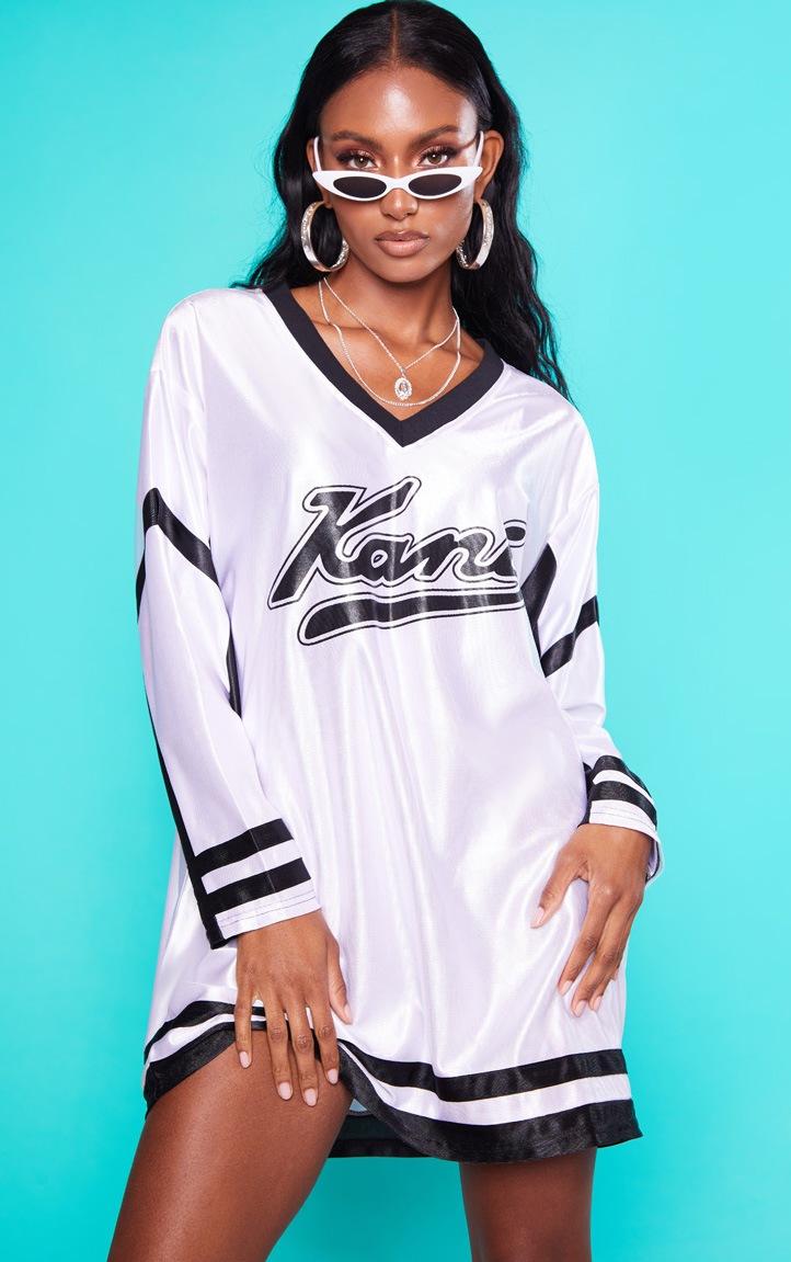 KARL KANI White Baseball Dress 7