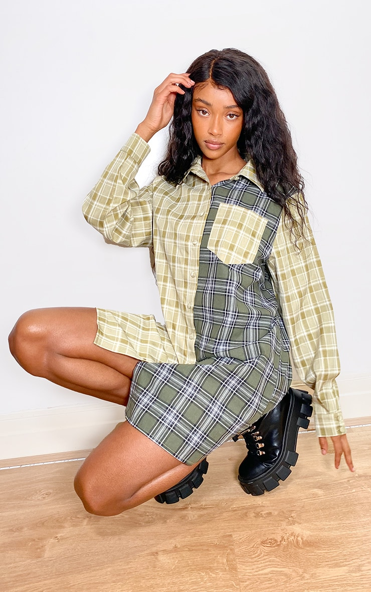 Green Two Tone Checked Shirt Dress 3