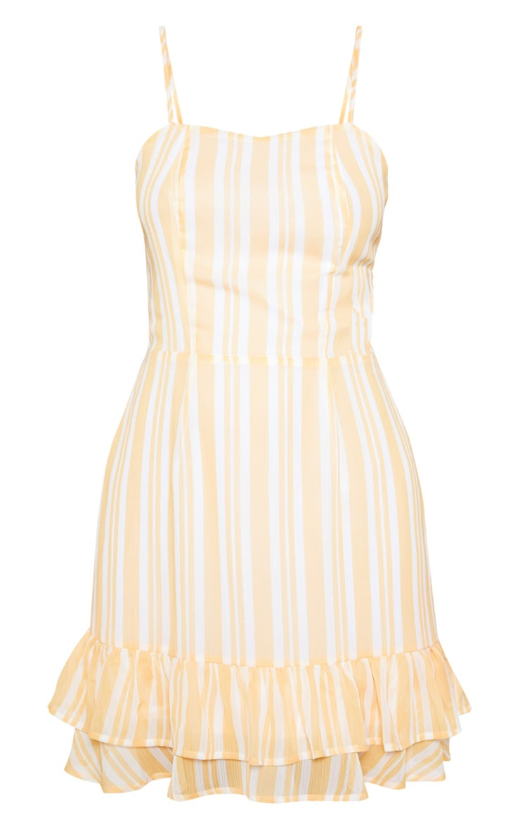 Yellow Chiffon Stripe Square Neck Cami Dress 3
