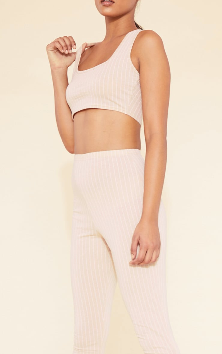 RECYCLED Deep Nude Pinstripe Square Neck Crop Top 5