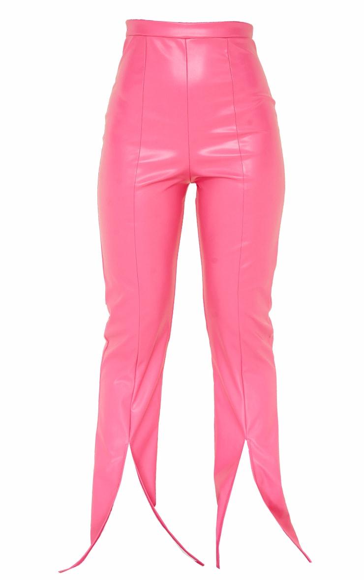 Hot Pink Faux Leather Split Hem Pants 5