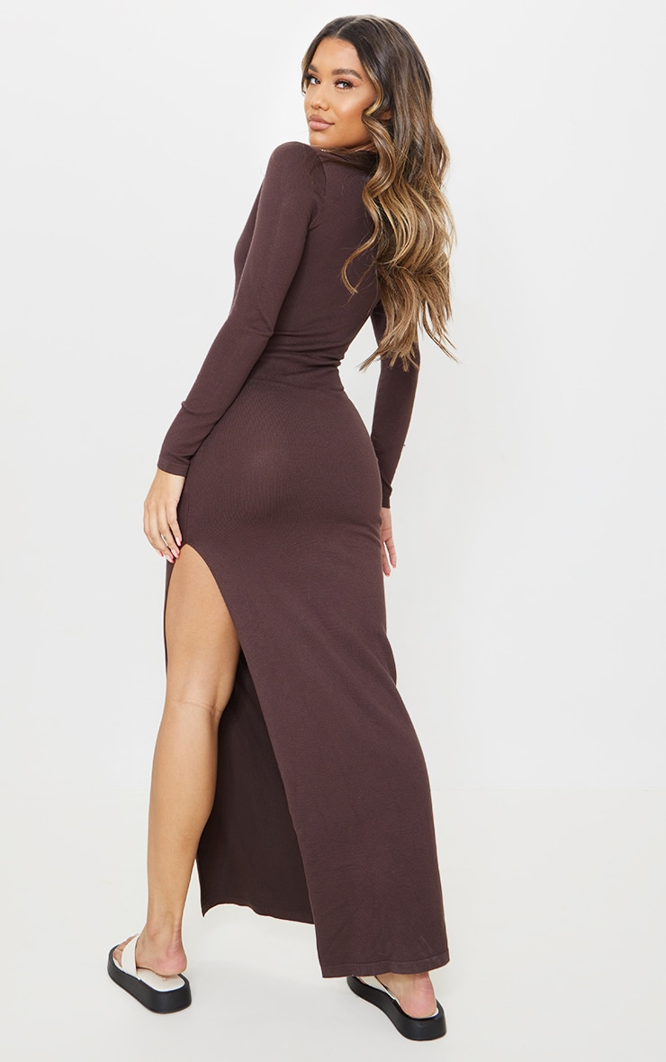 Chocolate Collar Detail Maxi Side Split Knitted Dress 2