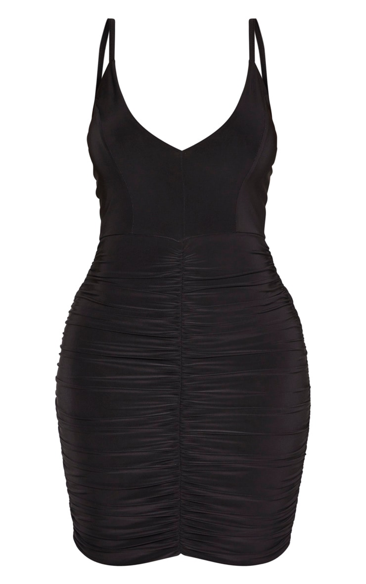Shape Black Strappy Ruched Mini Dress 1