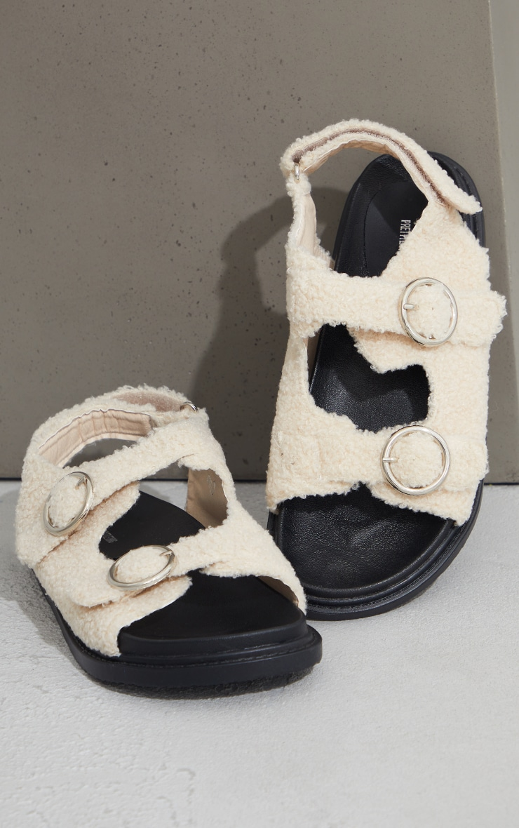 Cream Faux Shearling Buckle Sandals 3
