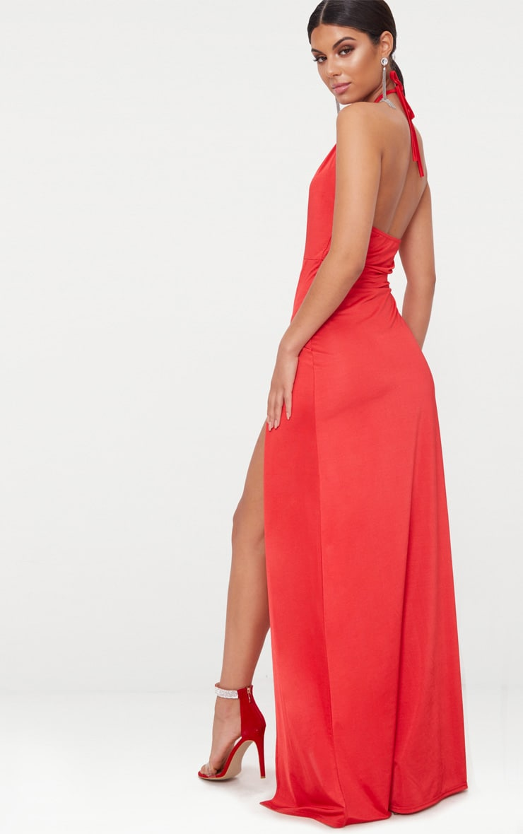 Red High Neck Cut Out Detail Extreme Split Maxi Dress 2