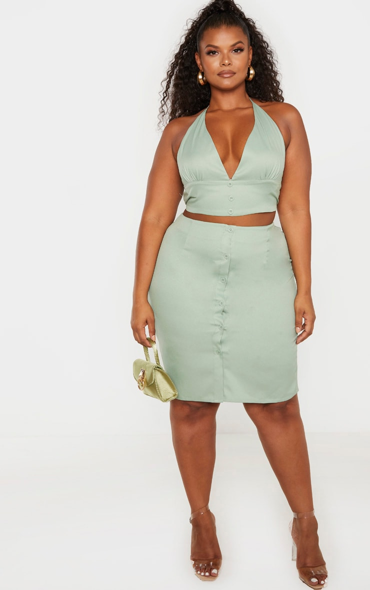 Plus Sage Green Button Midi Skirt  5