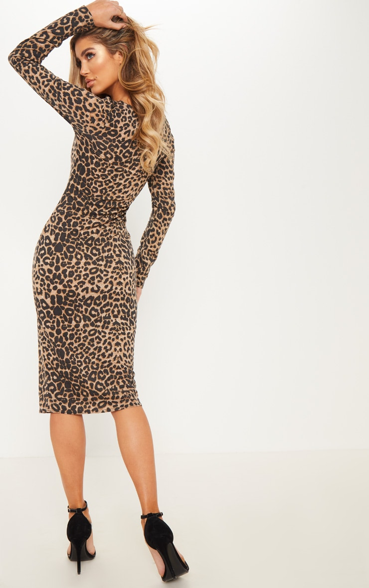 Brown Leopard Print Long Sleeve Midi Dress 2