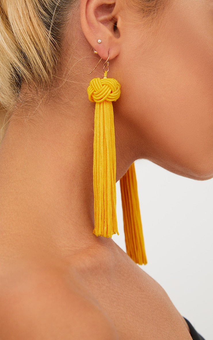 Yellow Knotted Tassel Earrings 3