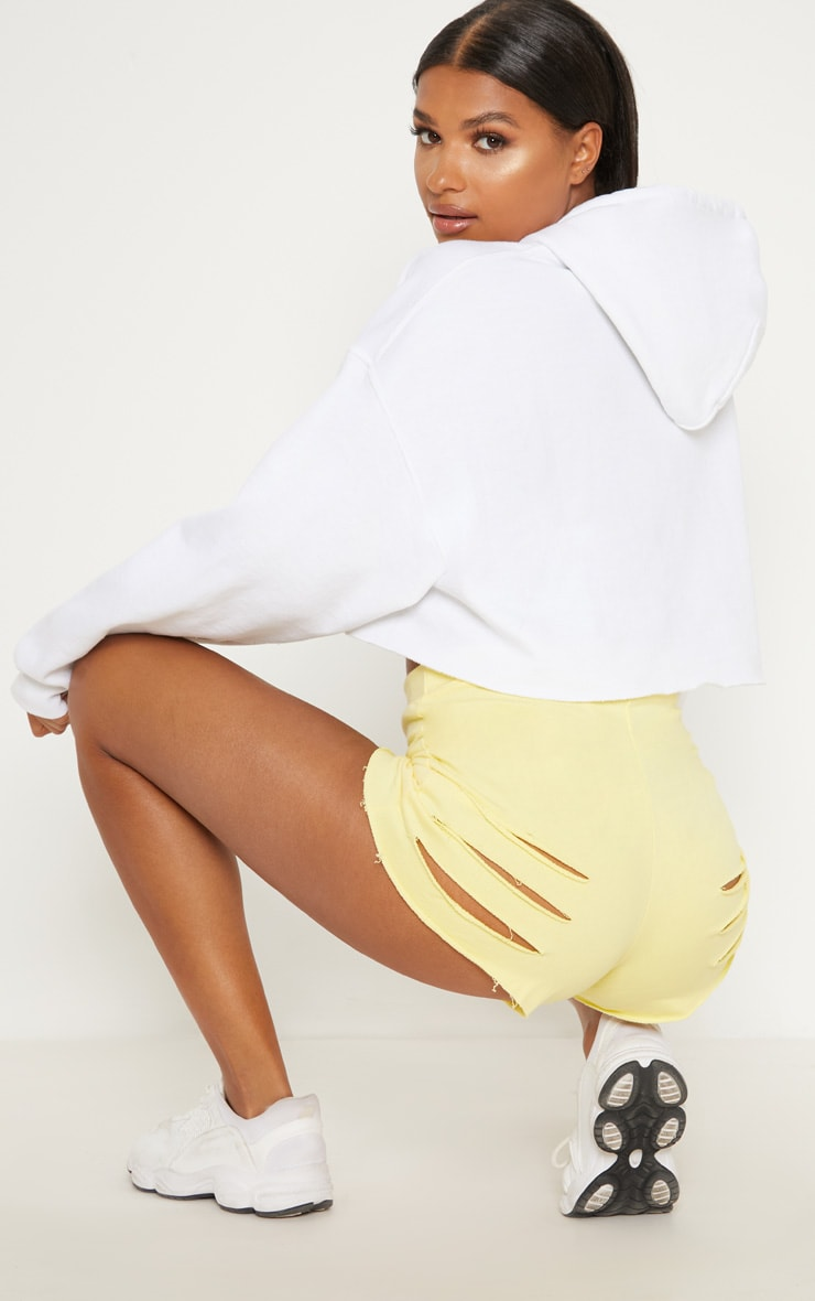 Yellow Distressed Raw Edge Bum Rip Short 1
