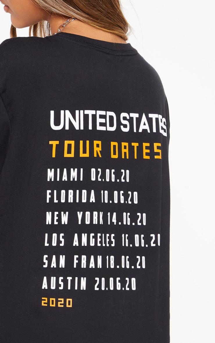 Black United States Tour Dates Slogan T Shirt 6