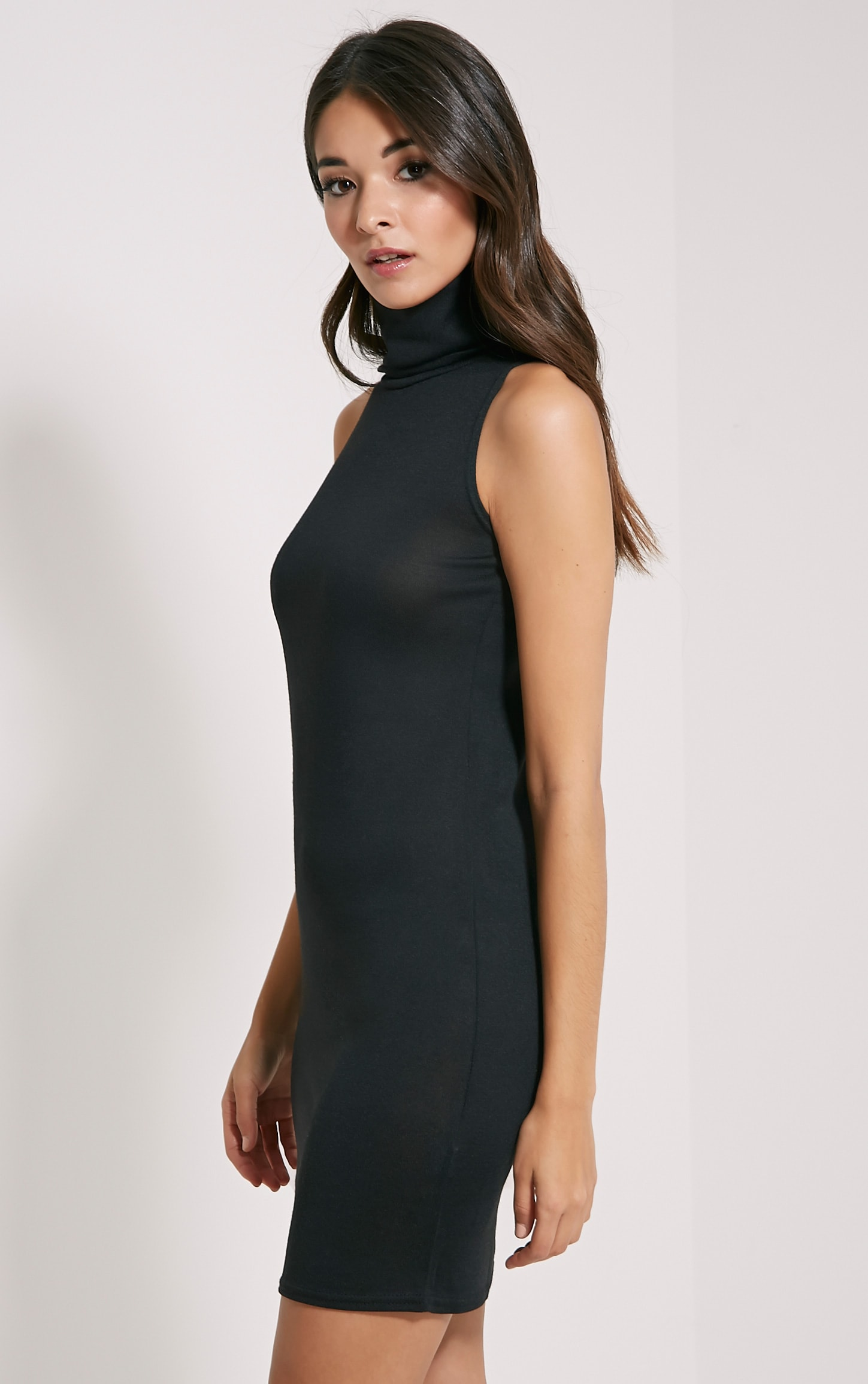 Yelena Black Knitted Marl Roll Neck Dress 4