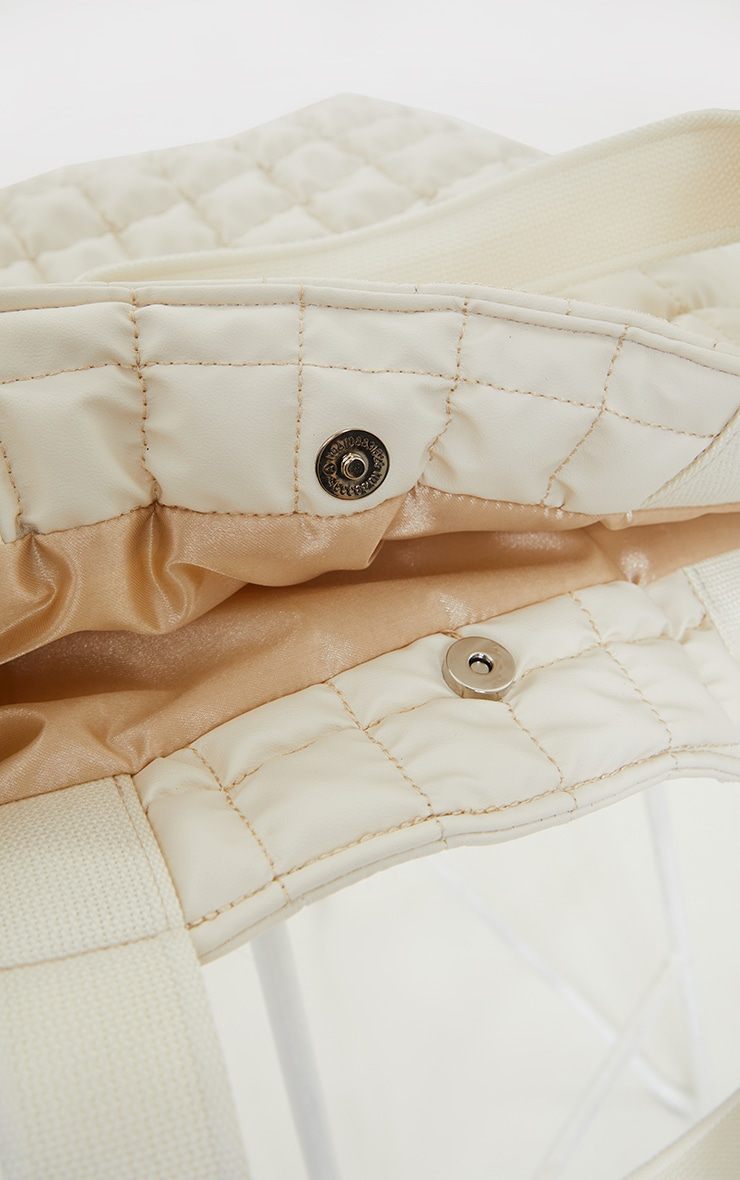 Cream Square Quilted Tote Bag 4