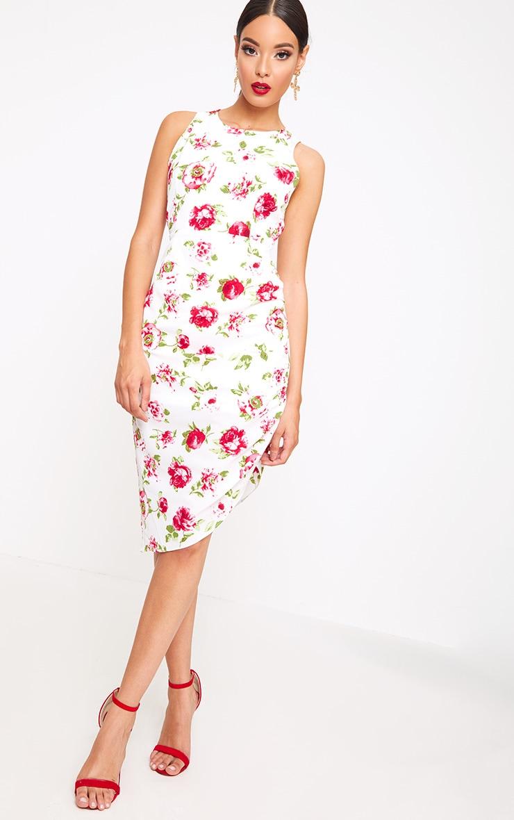 White Floral Lace Up Back Midi Dress 4