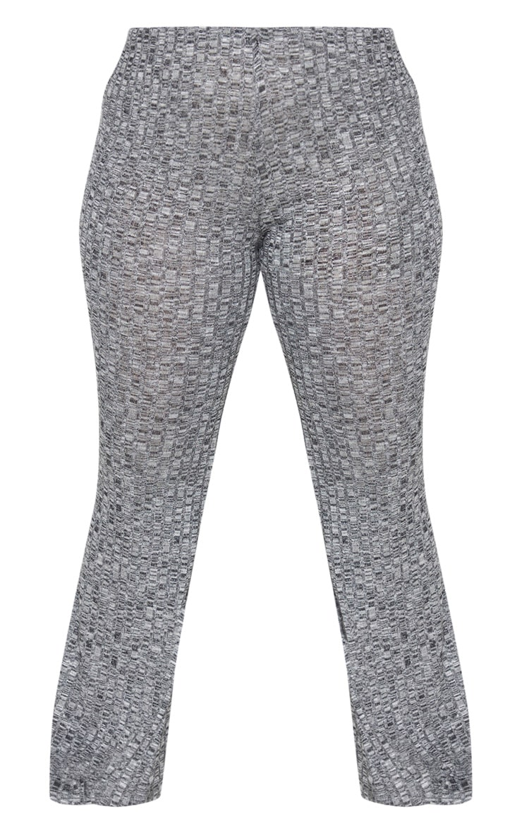 Plus Grey Knitted Rib Wide Leg Trousers 5