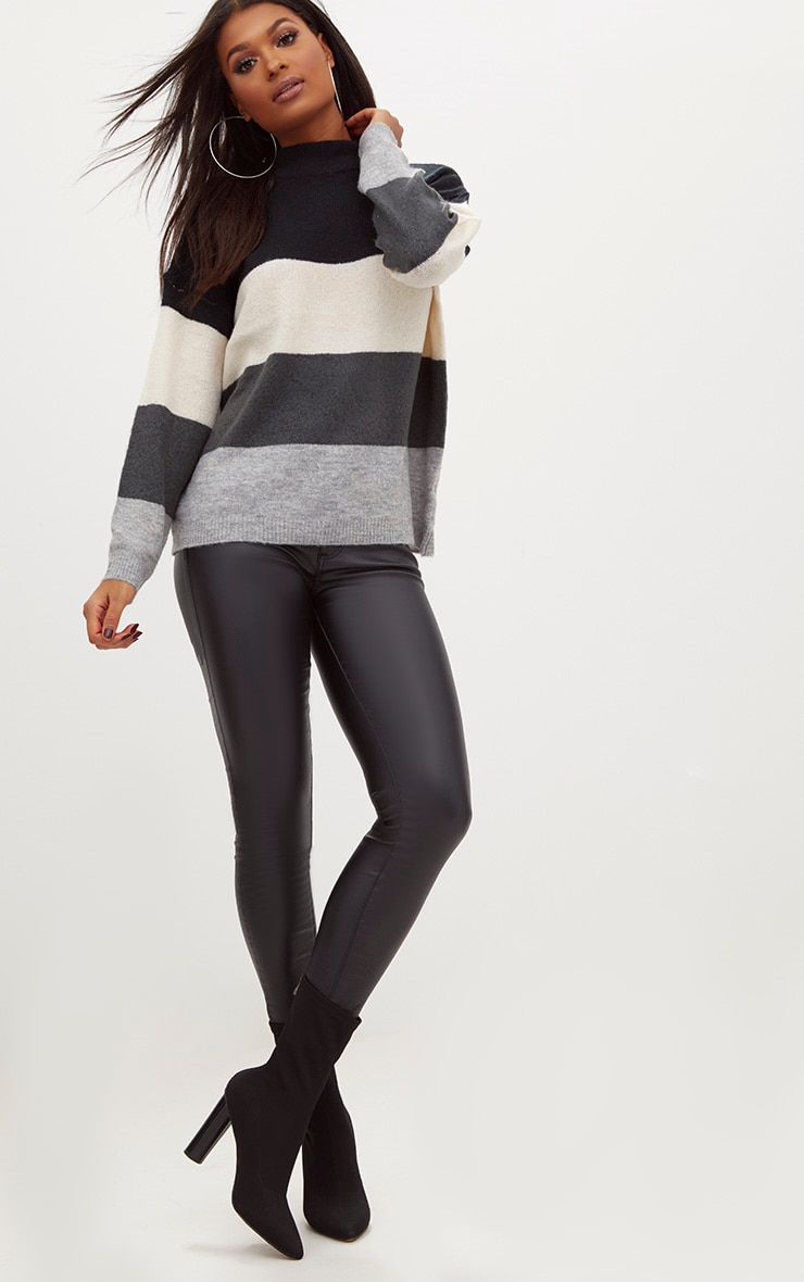 Black Funnel Neck Stripe Jumper 4