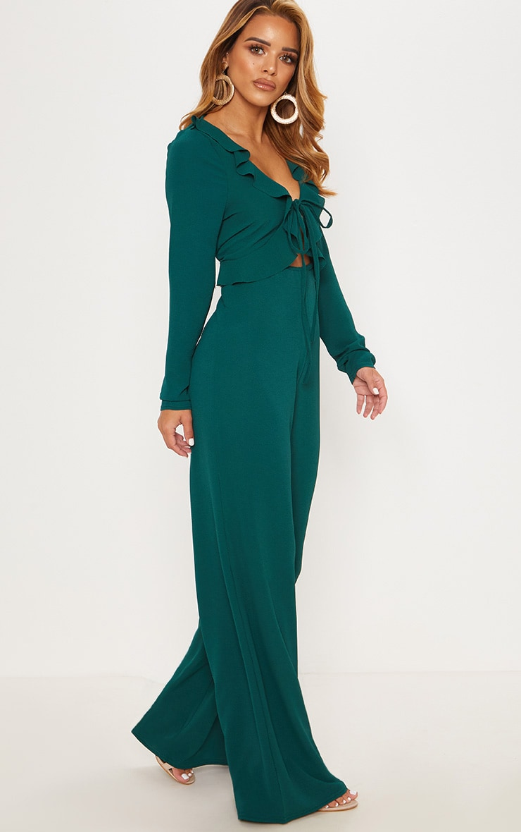 Petite Emerald Green Long Sleeve Frill Tie Front Jumpsuit 4