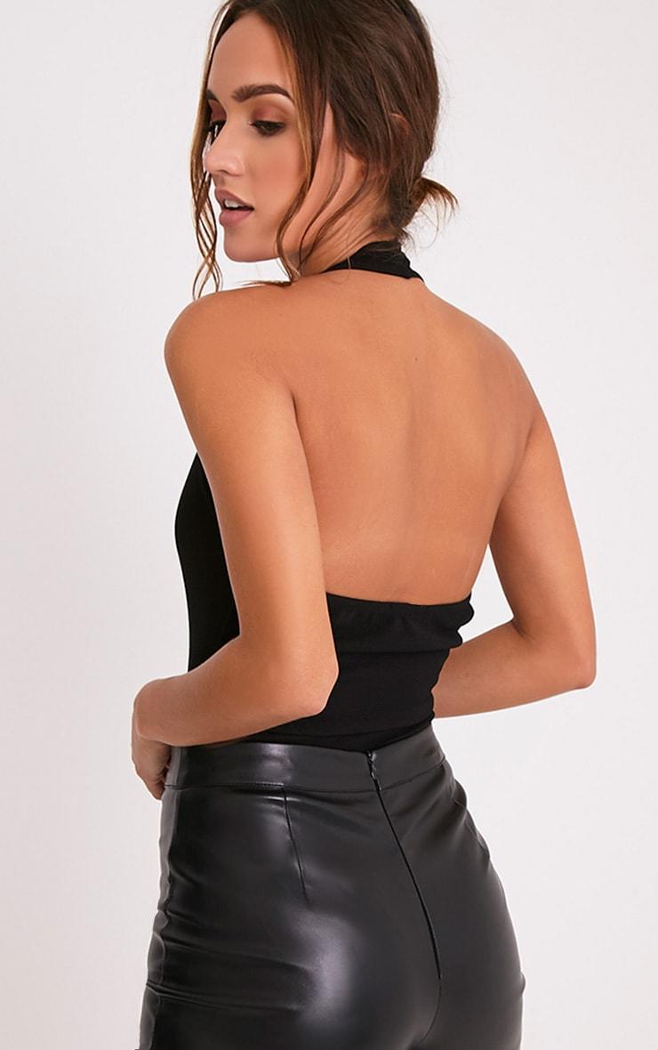 Niesha Black Scallop Halterneck Thong Bodysuit 7