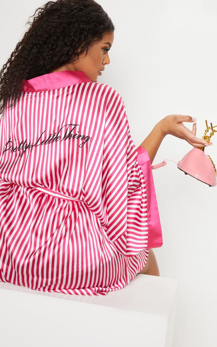 PRETTYLITTLETHING Plus Fuchsia Striped Satin Robe 1