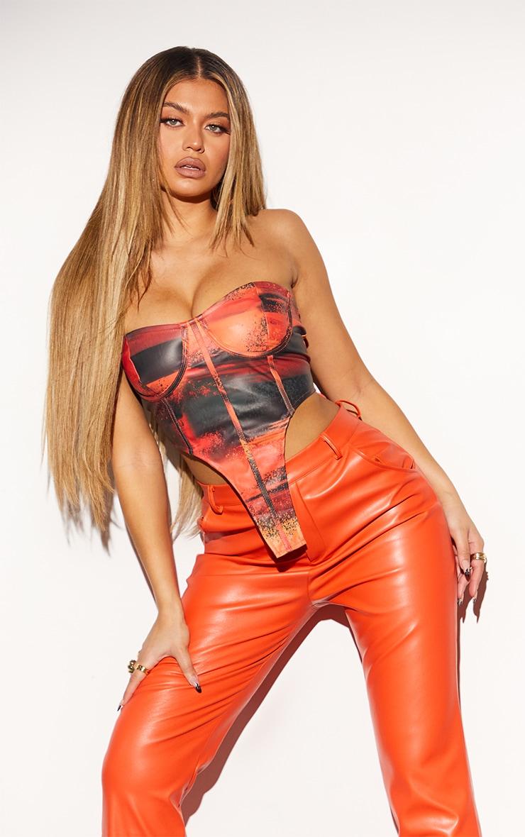 Orange Abstract Print Faux Leather Extreme Dip Hem Lace Back Bandeau Corset 1