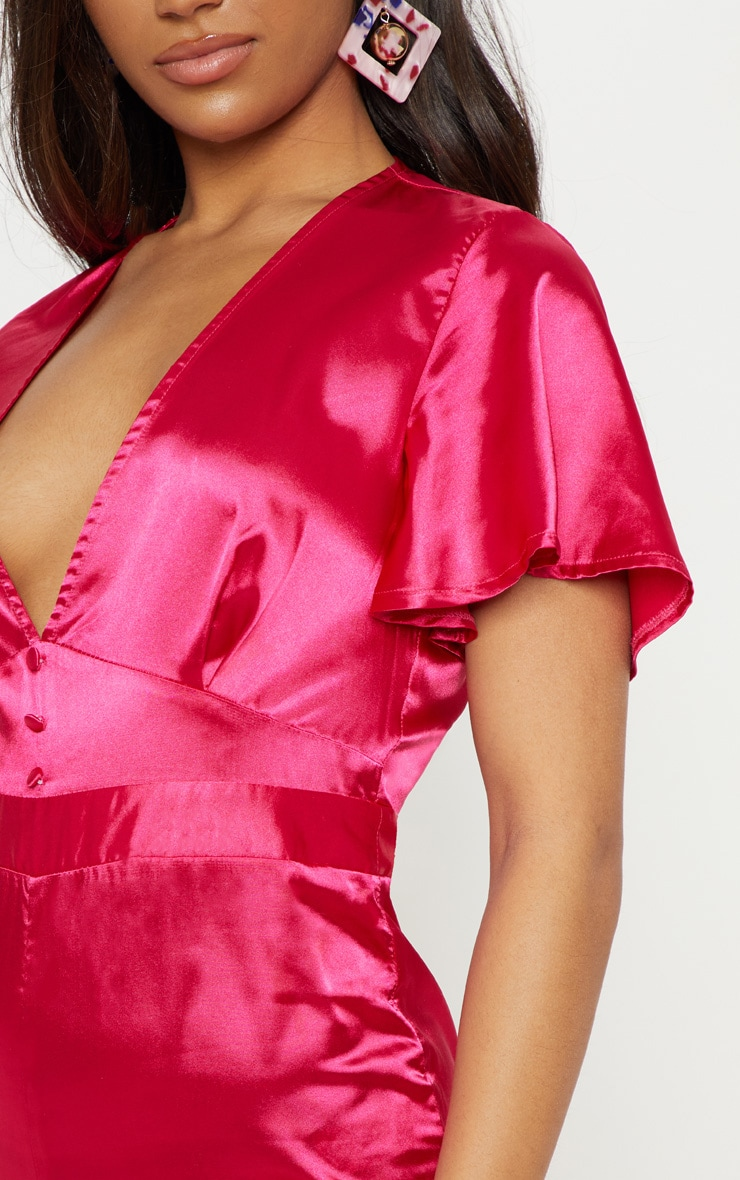 Magenta Satin Button Detail Flared Leg Jumpsuit 5