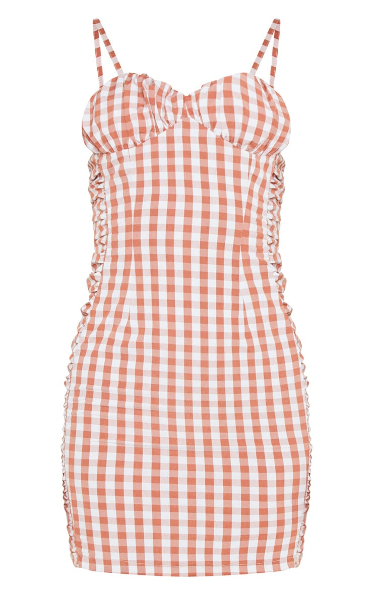 Brown Gingham Ruched Side Strappy Bodycon Dress 4