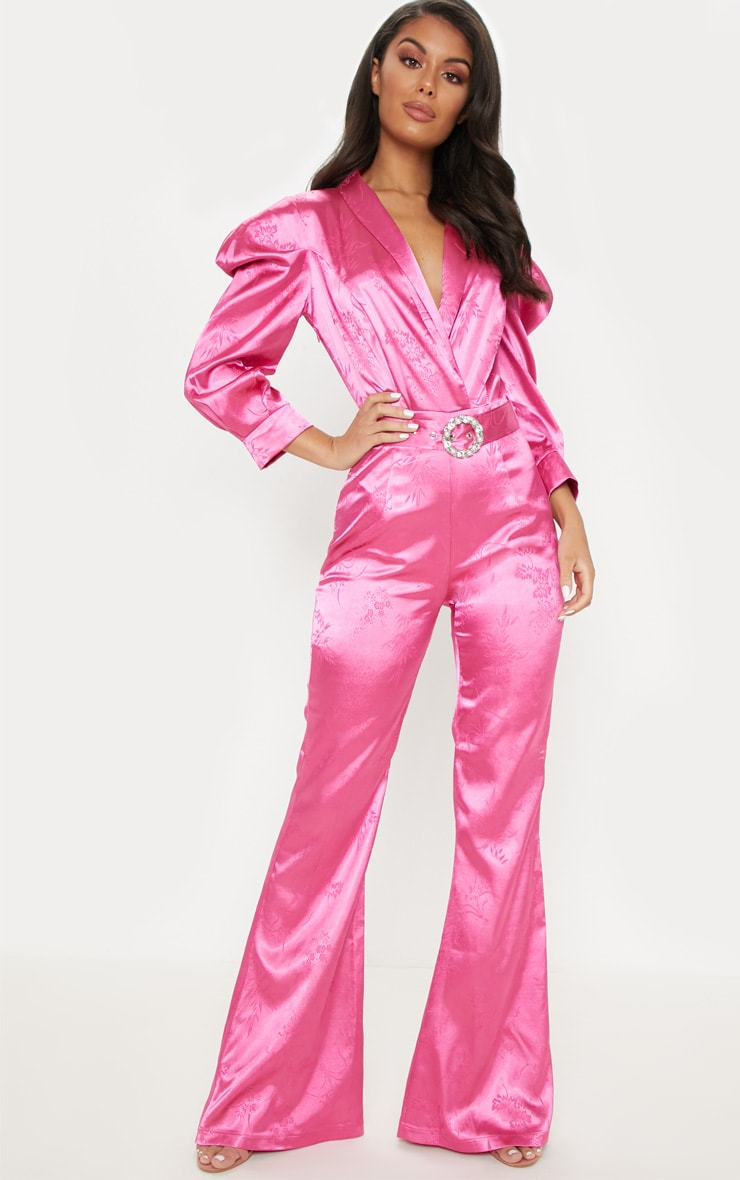 f93aa44a19 Hot Pink Belted Puff Sleeve Jumpsuit