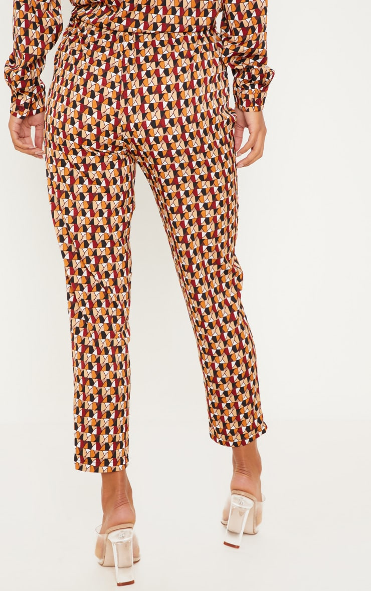 Rust Geo Print Cigarette Pants 4