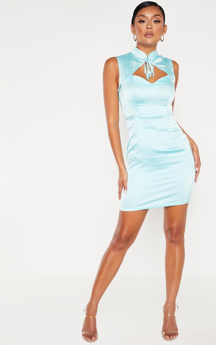 Aqua Blue Satin High Neck Keyhole Detail Bodycon Dress 4