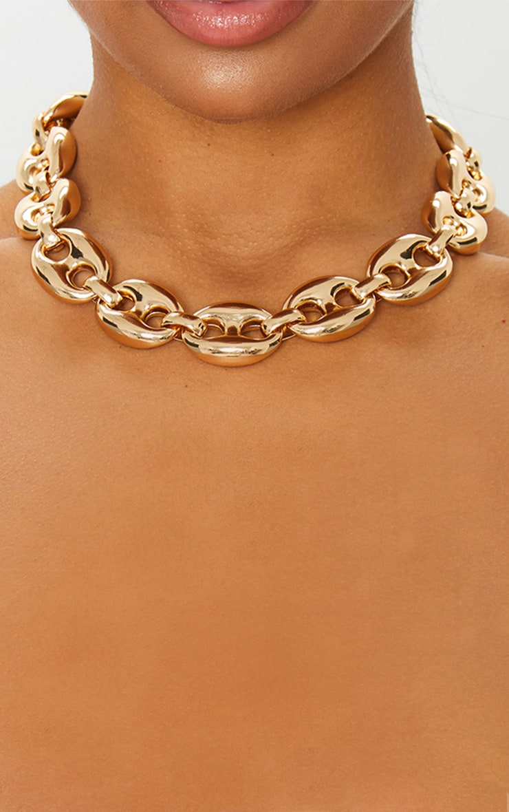 Gold Circular Linked Chunky Chain Necklace 2