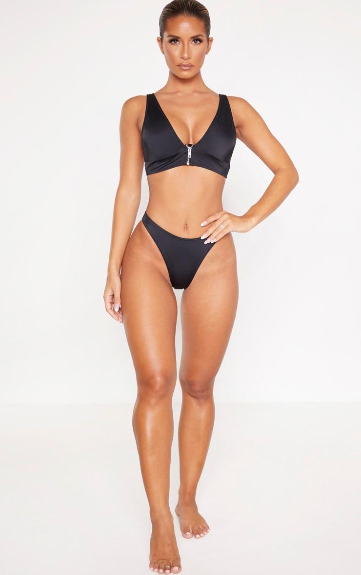 Black Recycled Mix & Match High Leg Bikini Bottom 4