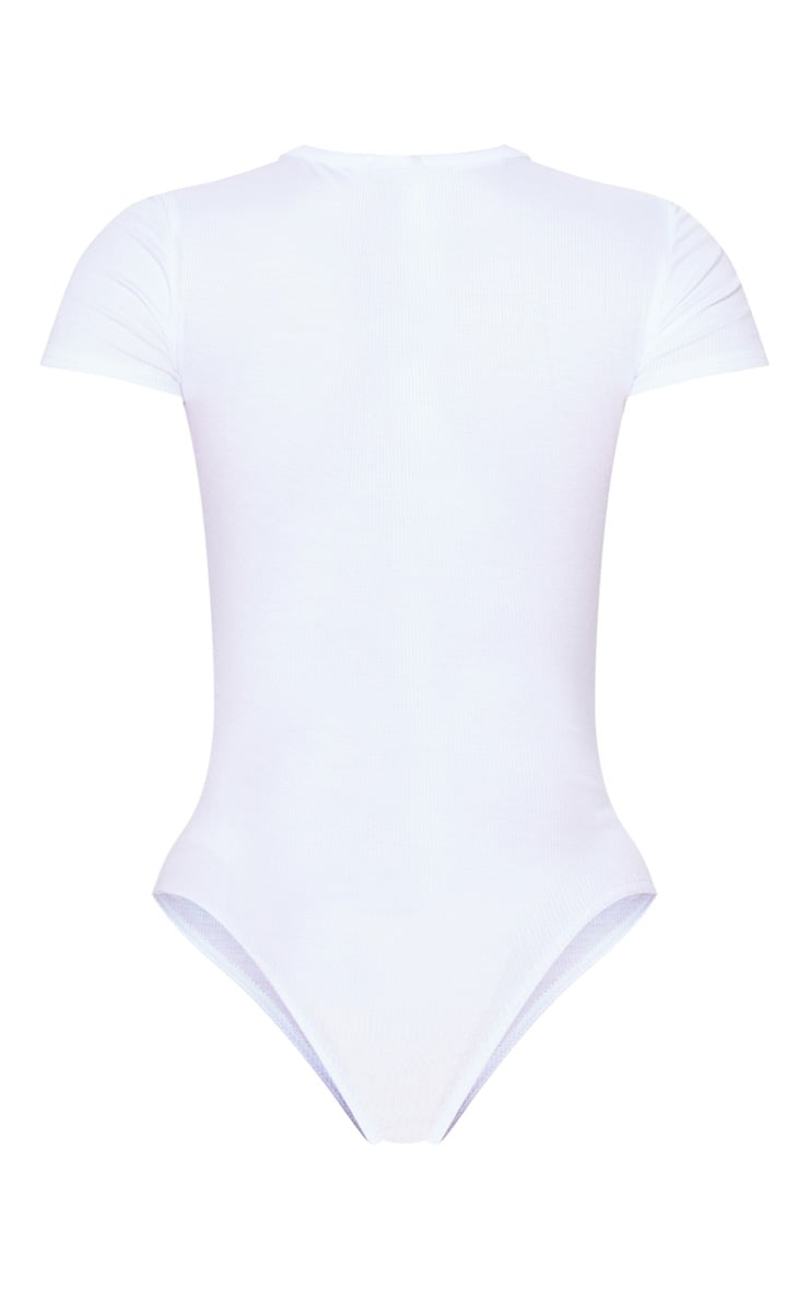 White Short Sleeve Popper Detail Thong Bodysuit 4