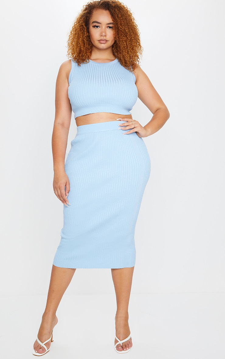 Plus Dusty Blue Rib Knit Midi Skirt 1