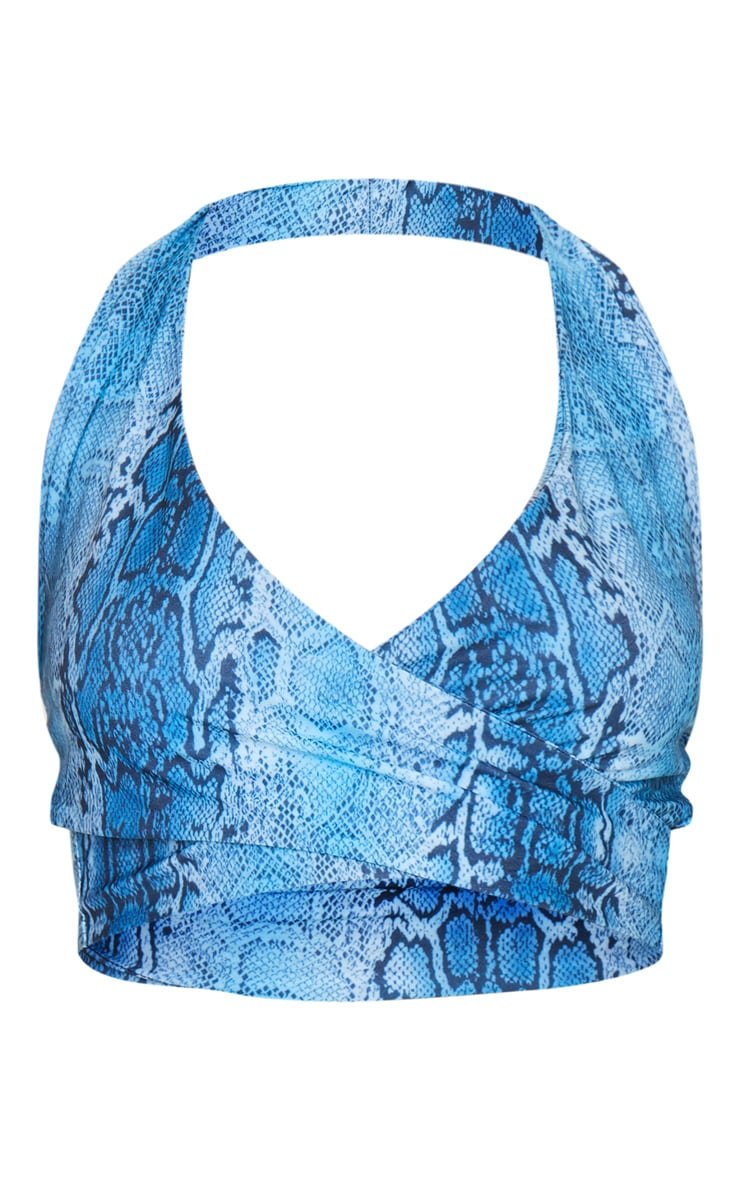 Blue Snake Print Cross Front Halterneck Bralet 3