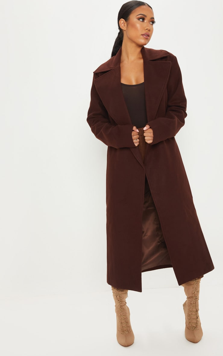 Petite Chocolate Brown Belted Coat 4