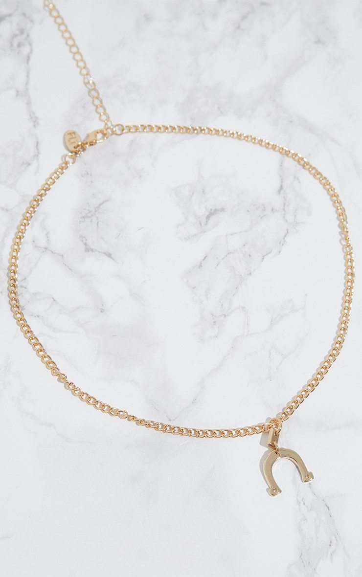 Gold Lucky Horse Shoe Necklace 3