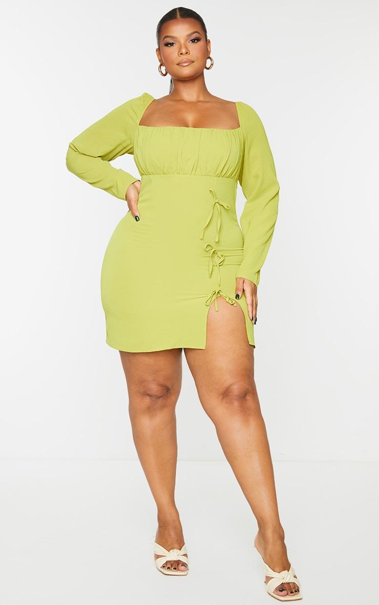 Plus Chartreuse  Bow Detail Side Split Bodycon Dress 1