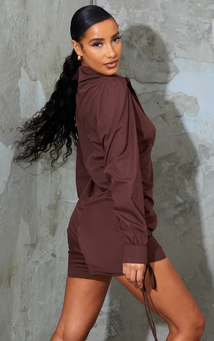 Chocolate Ruched Side Fitted Shirt Dress 2