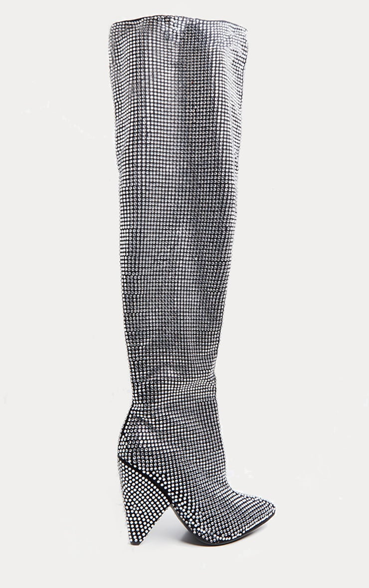 Silver Diamante Slouch Knee Boot 4