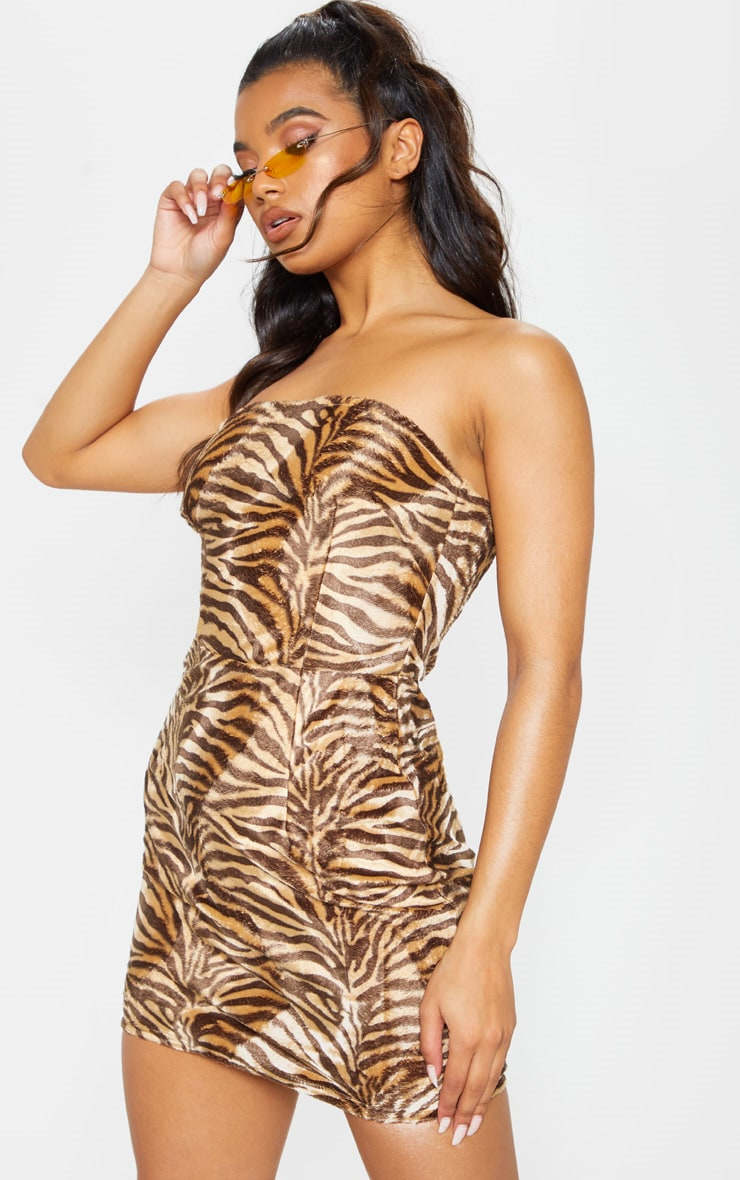 Tan Brushed Velvet Tiger Bandeau Bodycon Dress 2