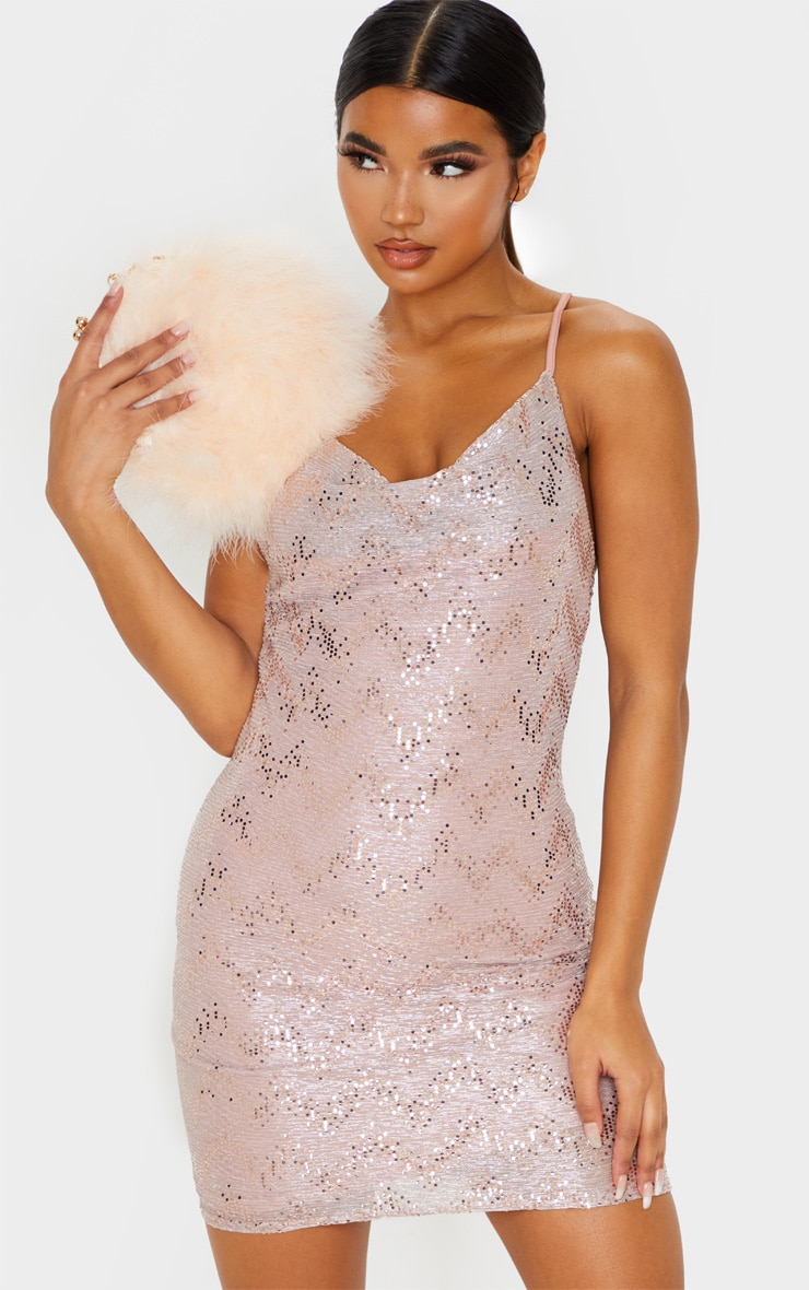 Dusty Pink Glitter Sequin Detail Strappy Cowl Neck Bodycon Dress 4