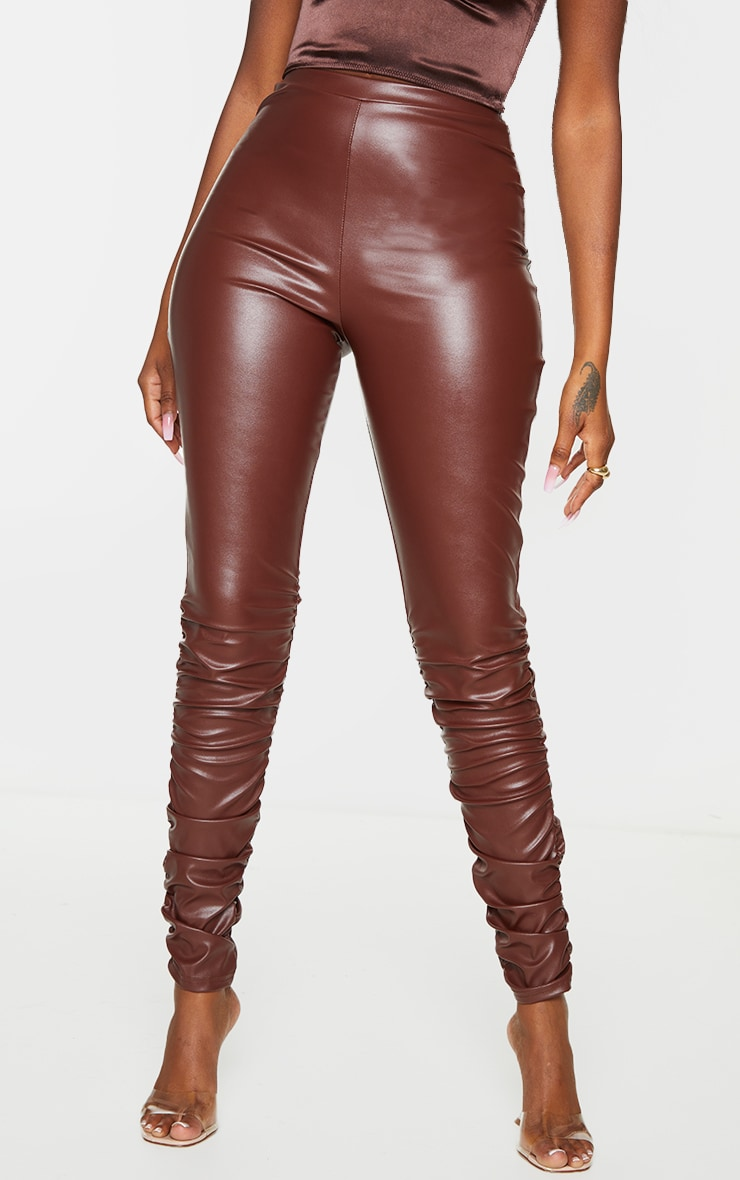 Brown Faux Leather Ruched Leg Skinny Trousers 2