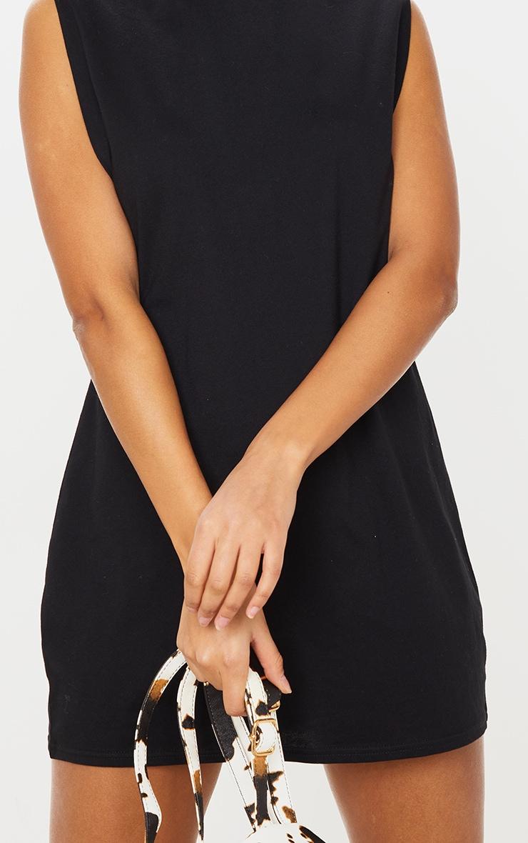 Black Shoulder Padded Sleeveless T Shirt Dress 4