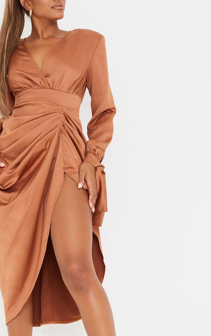 Brown Satin Wrap Long Sleeve Draped Midi Dress 4