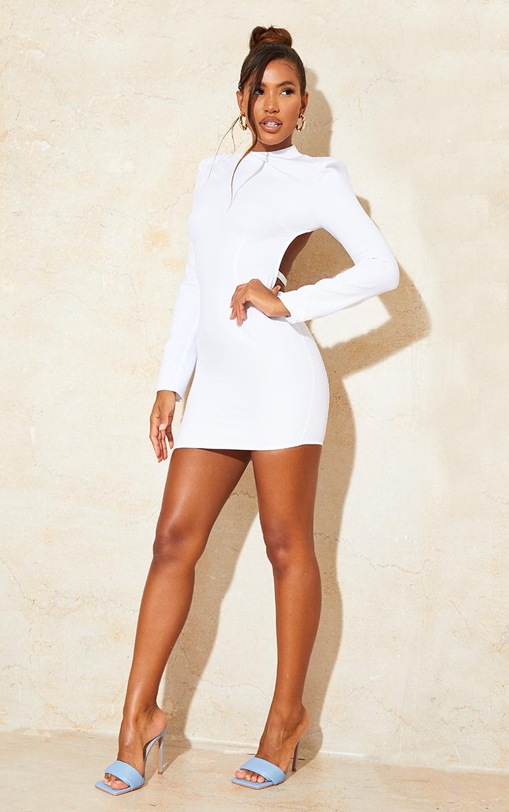 White Woven High Neck Long Sleeve Open Back Detail Bodycon Dress 3