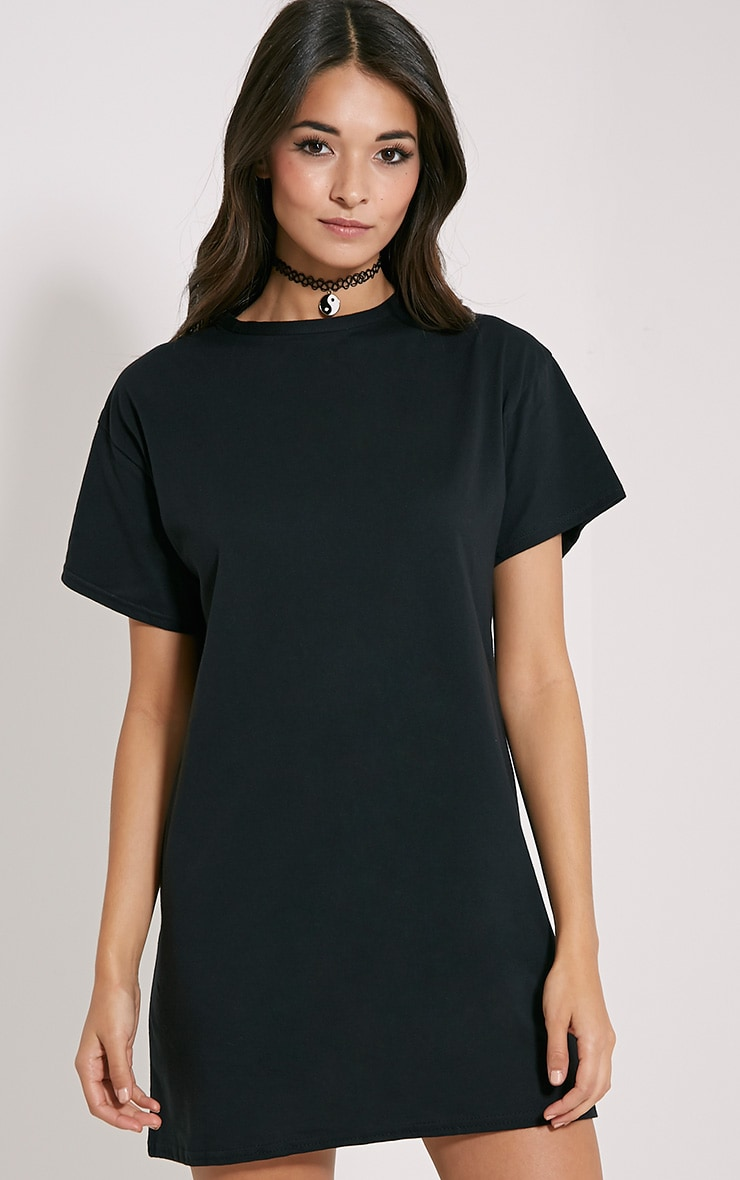 d1a8d01e101a Basic Black Oversized T-Shirt Dress image 1