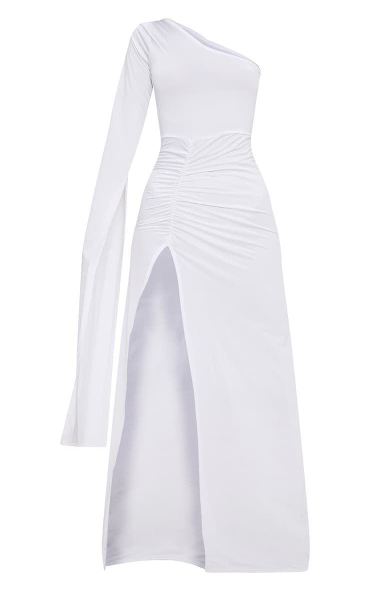 White Slinky One Sleeve Split Detail Maxi Dress 3